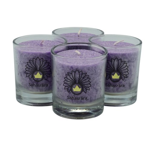 CHAKRA Candle, ca. 6 cm, set of 4, VIOLET