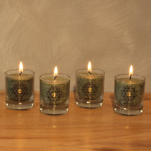 CHAKRA Candle, ca. 6 cm, set of 4, GREEN