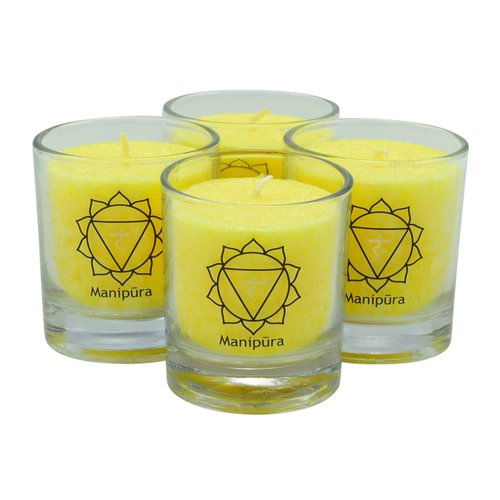 CHAKRA Candle, ca. 6 cm, set of 4, YELLOW