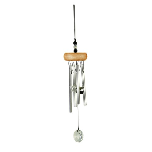 Wind Chime GEM Tunes with Crystal, ca. 27 cm, grey