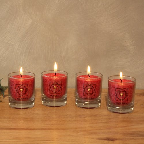 CHAKRA Candle, ca. 6 cm, set of 4, RED