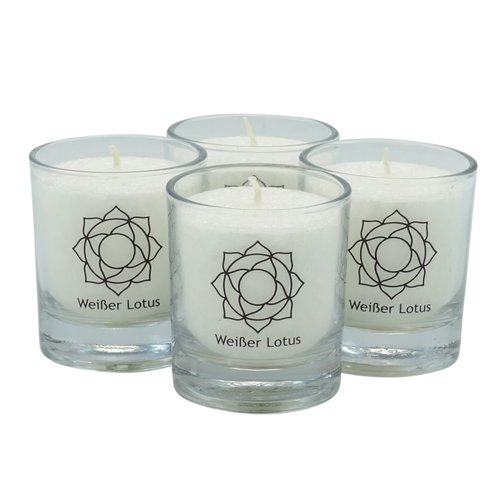 CHAKRA Candle, ca. 6 cm, set of 4, WHITE