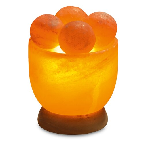 Illuminated Salt Crystal bowl ROUND with massage balls