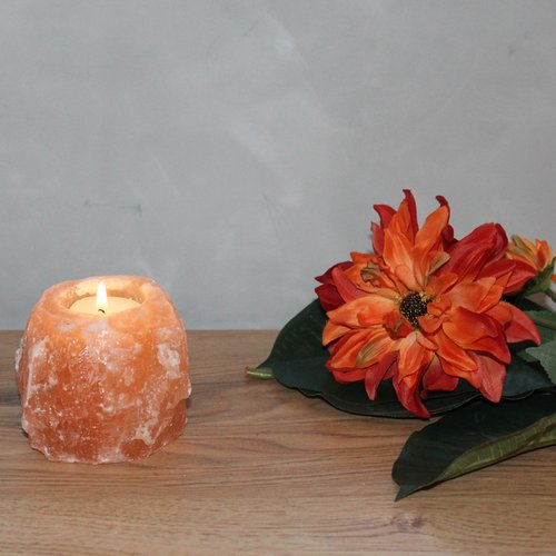 Salt Crystal Tealight Candleholder ROCK, ca. 500 g