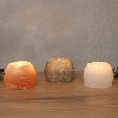 Salt Crystal Tealight Candleholder  Set ROCK-TRIO