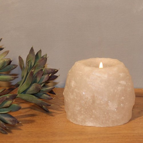 Salt Crystal Tealight Candleholder ROCK White Line