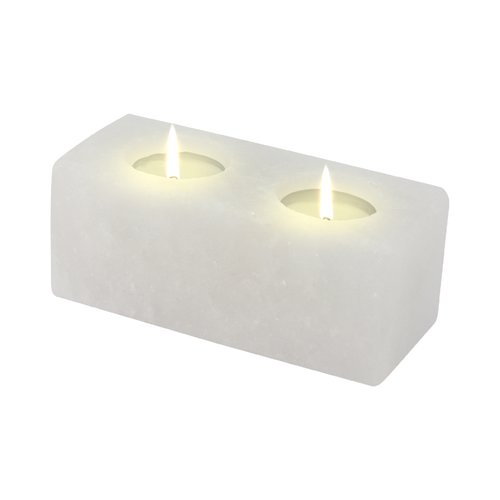 Salt Crystal Tealight Candleholder TWIN-CUBE White Line
