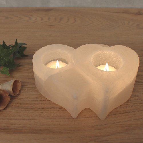 Salt Crystal Tealight Candleholder TWIN-HEART White Line