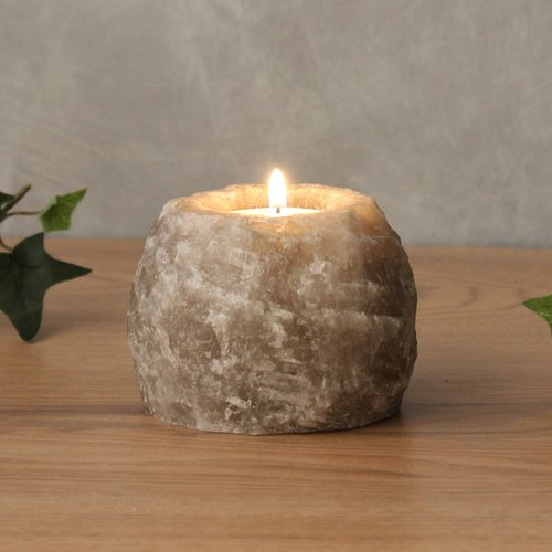 Salt Crystal Tealight Candleholder ROCK Grey Line