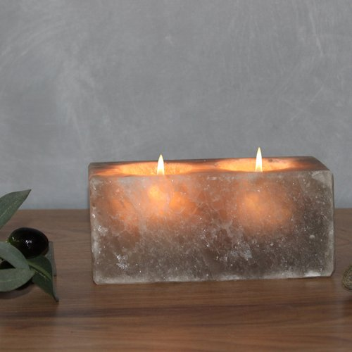 Salt Crystal Tealight Candleholder TWIN CUBE Grey Line