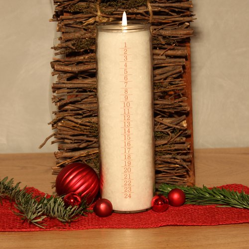 PALM LIGHT candle, ca. 20 cm, ADVENT 1-24, white