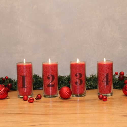 PALM LIGHT Candle, ADVENT-SET 1-4, red 4 pieces = 1 S